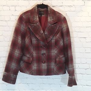Tribal plaid embroidered cropped blazer size 12